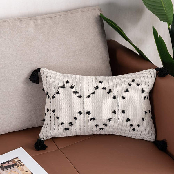 OJIA Farmhouse Black and Cream Lumbar Pillow Cover, 12 x 20 Decorative Throw Pillow Case Tribal Geometric Tufted Tassels Woven Cushion Cover Accent Neutral Collection for Sofa Couch Living Room