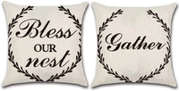 JOJUSIS Farmhouse Outdoor Pillow Covers Decorative Waterproof Pillowcases 18 x 18 Inch Set of 2 Bless Our Nest & Gather