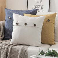Phantoscope Farmhouse Throw Pillow Covers Triple Button Vintage Linen Decorative Pillow Cases for Couch Bed and Chair Light Grey, 22 x 22 inches 55 x 55 cm