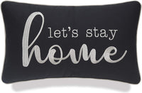 "YugTex Pillowcases Lumbar Home Pillow Farmhouse Pillows Let's Stay Home Embroidered Pillow Cottage Decor Apartment Decor Wedding Gift Housewarming Gift Sofa Pillow (Lets Home(Charcoal Grey), 12""x20"")"