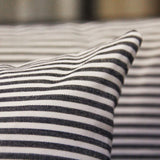 JOJUSIS Cotton Woven Striped Throw Pillow Covers Soft Solid Farmhouse Classic Decorative Cushion Pillowcases for Sofa Bedroom Car 18 x 18 Inch Black Pack of 2