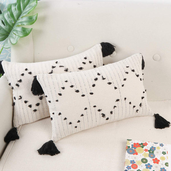 Ailsan Set of 2 Pillow Covers Super Soft Farmhouse Decorative Rectangle Woven Tufted Tassel Throw Pillow Covers Boho Cushion Covers for Car Sofa Couch Bed Chair