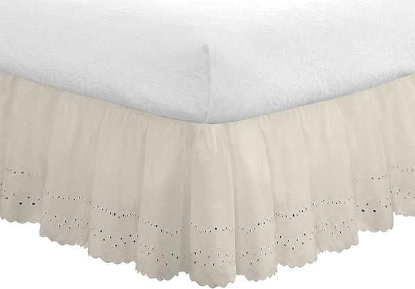 "Fresh Ideas Bedding Eyelet Ruffled Bedskirt, Classic 14"" drop length, Gathered Styling, Queen, Ivory"