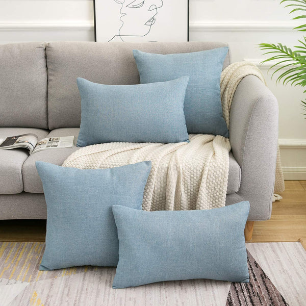 WLNUI Light Blue Pillow Covers Decorative Lumbar Oblong Throw Pillow Covers Cotton Linen Cushion Case for Sofa Couch Home Farmhouse Decor 12x20 Inches