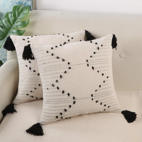 Ailsan Set of 2 Pillow Covers Super Soft Farmhouse Decorative Square Woven Tufted Tassel Throw Pillow Covers Boho Cushion Covers for Car Sofa Couch Bed