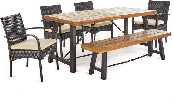 Christopher Knight Home 302558 Belham Outdoor 6 Piece Acacia Wood Dining Set W, Teak Finish + Rustic Metal + Multibrown + Crème