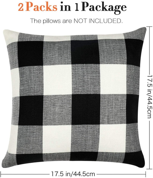 GirlyGirl Boutique Farmhouse Decorative Buffalo Check Plaid Pillow Covers Black and White Classic Linen Throw Pillow Covers for Couch, Bed, Sofa,Pack of 2(18 x 18 Inch)