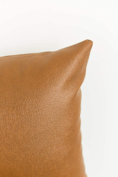 Woven Nook Decorative Lumbar Throw Pillow Cover ONLY for Couch, Sofa, or Bed 12x20 12x26 and 12x40 inch Modern Quality Design 100% Faux Leather Milo Lumbar (12'' x 20'')