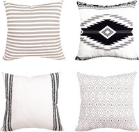 "BLEUM CADE Pillow Cover Cushion Cover Modern Decorative Throw Pillow Case for Sofa Couch Bed and Car Set Home Decor 4 Packs (Simple Strings, 18""x 18"")"