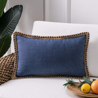 Phantoscope Farmhouse Decorative Throw Pillow Covers Burlap Linen Trimmed Tailored Edges Outdoor Pillows Navy Blue 12 x 20 inches, 30 x 50 cm