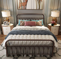 Metal Bed Frame Queen Size with Vintage Headboard and Footboard Platform Base Wrought Iron Double Bed Frame (Queen, Antique Brown)