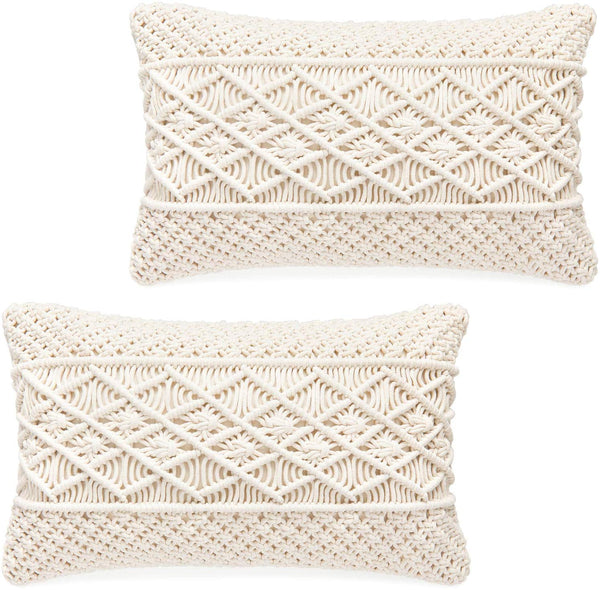 "Mkono Throw Pillow Cover Macrame Cushion Case (Pillow Inserts Not Included) Set of 2 Decorative Pillowcase for Bed Sofa Couch Bench Car Boho Home Decor,12"" W x 20"" L"