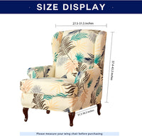 subrtex Wing Chair Slipcovers Stretchy Wingback Armchair Covers Detachable Spandex Sofa Covers Leaves Printed Furniture Protector(Yellow)