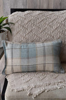 Something to Treasure Rustic Plaid Pillow Cover 12x20, Plaid Throw Pillow Covers 12x20 Decorative Blue/Cream Plaid Lumbar Throw Pillow Covers, Blue Cream Plaid 12x20 Lumbar Throw Pillow for Couch