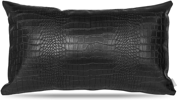 Black Faux Leather Pillow Cover: 12x20 Crocodile Case for Lumbar Throw Couch Pillows - Modern Farmhouse Decor Minimalist Accent Decorative Sofa Cushion Waterproof Thick & Soft Covers