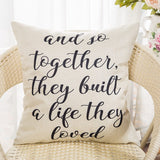 Fahrendom and So Together They Built a Life They Loved Farmhouse Décor Family Decoration Sign Cotton Linen Home Decorative Throw Pillow Case Cushion Cover with Words for Sofa Couch, 18 x 18 in