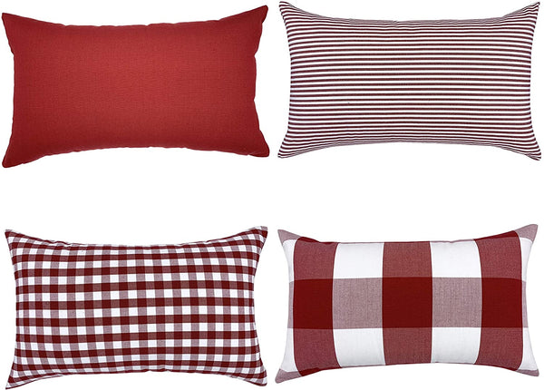 YOUR SMILE Set of 4 Cotton Canvas Farmhouse Throw Pillow Covers for Sofa(Pure Color, Checkers Plaid, Stripe, Lattice) (12'' x 20'', Red)