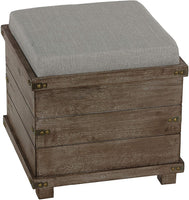 Cortesi Home Scusset Storage Chest Tray Ottoman in Fabric and Wood Grey
