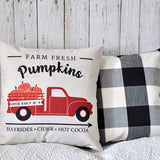 PANDICORN Farmhouse Fall Pillow Covers for Fall Decor Couch Sofa, Farm Fresh Red Truck Pumpkin Decorative Throw Pillows Cases for Fall Decorations, 18x18 Inch