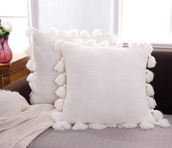 blackbunny Square Cream Decorative Throw Pillow Cover, Woven Accent Boho Farmhouse Cushion Sham, Cute Soft Pillow Cases with Handmade Tassels for Couch Sofa Bedroom Living Room (18x18 inch)