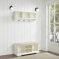 Crosley Furniture Brennan Entryway Storage Bench and Hanging Shelf Set, White