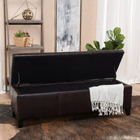 Christopher Knight Home 296844 Living Deal Furniture | Skyler Faux Leather Storage Ottoman Bench | in Brown