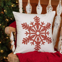 "Piper Classics Red Snowflake Christmas Pillow Cover, 20"" x 20"", Farmhouse or Boho Style Holiday Décor, Christmas Red on Off-White Canvas"