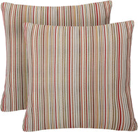 Pack of 2 Simpledecor Throw Pillow Covers Couch Pillow Shells,20X20 Inches,Jacquard Colorful Stripes,Multicolor Red