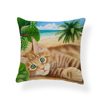 Cat Stripe Palm Tree Cushion Cover Vineyard Vines Love Sky Pillow Case Pink Farmhouse Home Decor Pillow Large Polyester Dropship