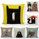 High Quality Style Cushion Cover With Animal Otter Black Bear Fox 45*45 CM Square Pillow Cover Farmhouse Home Car Seat Decor