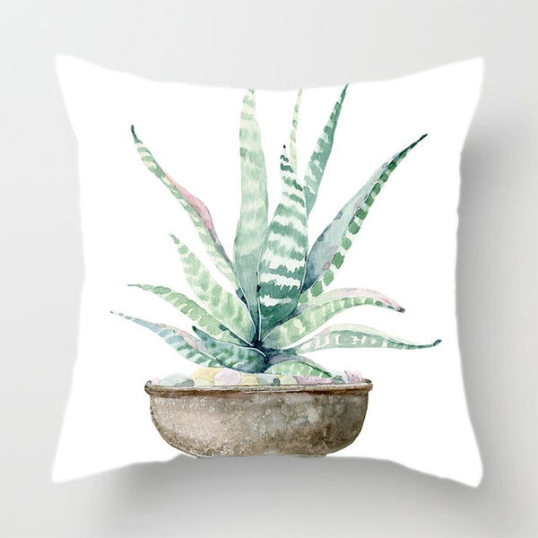 Watercolor Painting Decorative Throw Pillow Case Cactus Flower Green Succulent Plants Cushion Covers Party Home Farmhouse Decor