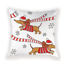 Christmas Cushion Cover 45\X2A45 Cm Decorative Cushion Dachshund Pillowcases On Pillows Simple Pillow Cover Home Decor Farmhouse