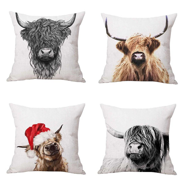 Cushion Cover Farmhouse Cow Printed Linen Animals Highland Cattle Pillow Sofa Cover Decor Pillowcase decorativos cojines 45x45cm