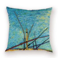 Vintage Farmhouse Throw Pillow Covers Watercolor Van Gogh Decor Cushion Cover Scenic Pillows Case Kissen Living Room Cushions