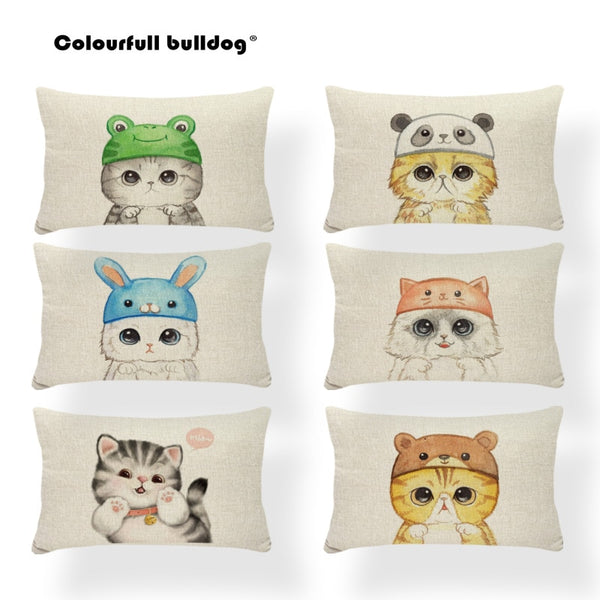 Animal Cat Cushion Covers Footprint  Pillow Case Farmhouse Style Bed Lumbar Support Blue Throw Pillows 30x50cm Linen Discount