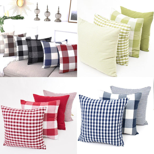 1Pc Check Plaid Cushion Cover Farmhouse Buffalo Rectangle Throw Pillow Covers Cotton Linen Cushion Case Home Decor 45*45cm