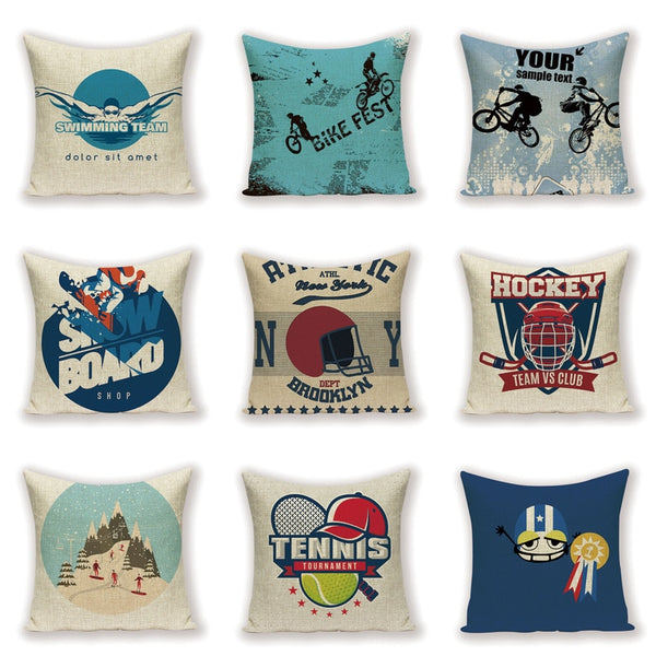 Cartoon Scandinavian Throw Pillow Case Play Sports Interesting Farmhouse Cushion Cover Custom Linen  Home Decor  Pillow Covers