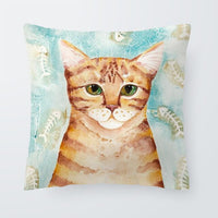 Chubby Cute Pillowcase Cat Abstract Rabbit Flower Line Cartoon Throw Pillow Living Room Decoration Large Velvet Cushion Cover