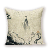 Vintage Decorative Cushion Covers Farmhouse Decor Oil Painting Beautiful Scenery Home Pillow Landscape Throw Pillows Cases