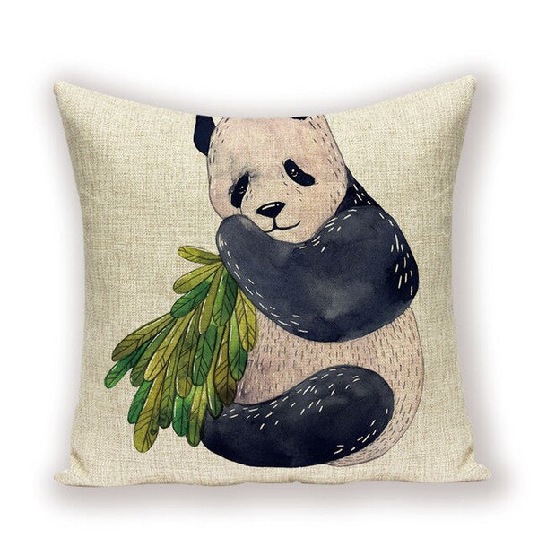 Cartoon Animal Cushion Cover Cute Panda  Home Decor Sofa Throw Pillow Cases Farmhouse Living Room Cushions Linen Pillowcases