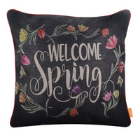 LINKWELL 45x45cm Blackboard Art Chalk Words Pillow Case Farmhouse Welcome Spring Cushion Cover Colorful Flower