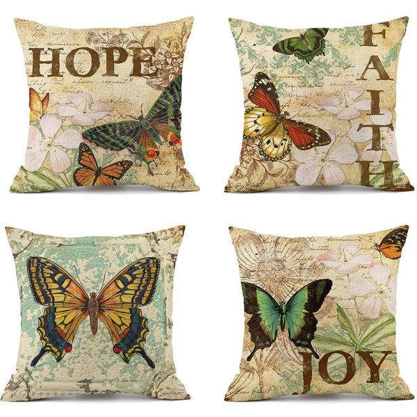"Retro B utterfly Decorative Throw Pillow Covers 18""x 18"" Set of 4, Faux Linen Farmhouse Vintage Style Pillow Case Cushion Cover"