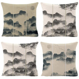 Boniu Ink Painting Decorative Throw Pillow Case Mountain Printed Cushion Covers For Home Farmhouse Decor Polyester Pillowcase