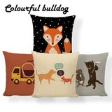 Elephant Dog Cat Fox Cushion Covers Rainbow Giraffe Shark Skull Pillow Case Farmhouse Chair Home Decor Dakimakura 45X45Cm Burlap