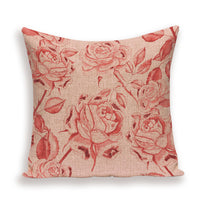 Farmhouse Decoration Throw Cushion Covers Plant Flower Pillow Case Decorative Floral Pillowcase 45*45 Pink Linen Cushions Cover