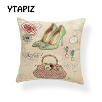 Fashion High Heel Pillow Case Flower Pink Green Red Purple Blue Skirt Butterfly Letter Decoration Farmhouse Sofa Cushion Cover