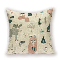 Animal Cartoon Sofa Cushion Cover Decoration Nordic Home Kissen Farmhouse Throw Pillows Living Room Cushions Pillowcase 45*45