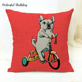 Sublimation Cartoon French Bulldog Pillow Cushion Case Fitness Motorcycle Love Dog Car Seat Vintage Bicycle Farmhouse Linen Nap