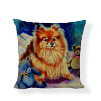 Pomeranian Cushion Cover Oil Painting Grass Stitching Butterfly Painted Home Decor Farmhouse Living Room Linen Throw Pillow Case