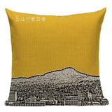 Vintage Building Yellow Throw Pillow Farmhouse Hotel Office Party Pillow Covers Stylish Lumbar Houseware Decorative Pillowcase